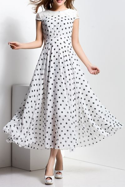 Borme White Polka Dot Lace Spliced Maxi Dress | Maxi Dresses at DEZZAL Click on picture to purchase!