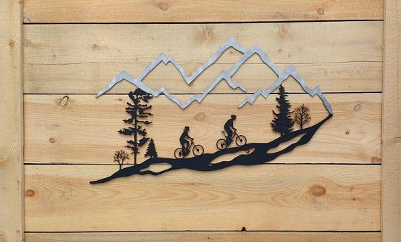Metal Wall Art Mountain Bike Trees Mountain Bike Mtb 30 Frosted Metal Wall Art Mountain Bike Art Art