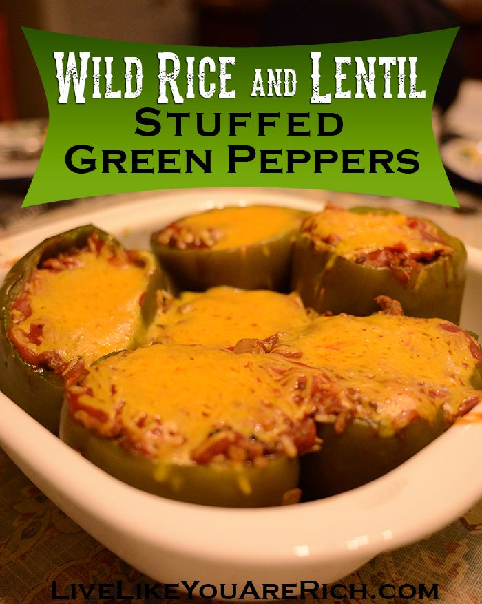 AMAZING! Beef, Wild Rice, and Lentil Stuffed Green Peppers