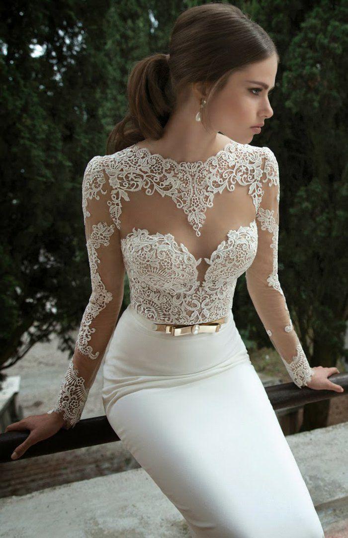 La robe de mariée hiver saison bustier avec manches en dentelle                                                                                                                                                                                 Plus