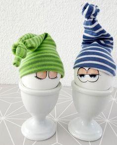 Eiermützchen | Eierwärmer aus Jersey Stoffresten selbermachen.