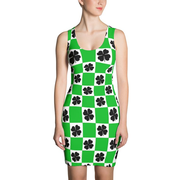 St. Patricks Day Dress - Saint Patricks Dress - Clover Dress - Green Checkered Dress - Irish Dress