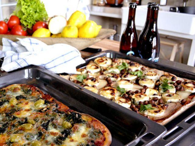 Tre sorters pizza (kock Ernst Kirchsteiger)