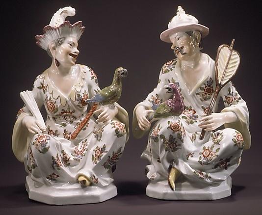 Chinese Couple, ca. 1737   Germany, Meissen Manufactory, Johann Joachim Kändler (German, Fischbach 1706–1775 Meissen)  Hard-paste porcelain, H. 17.9 cm, New York, Metropolitan of Art, 1982.60.319,320