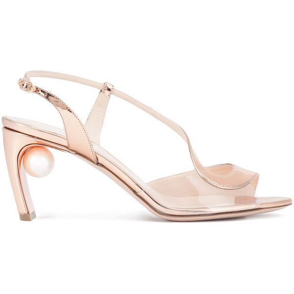 Nicholas Kirkwood curved strap pearl sandals (51.925 RUB) ❤ liked on Polyvore featuring shoes, sandals, grey, strap sandals, metallic strappy sandals, gray sandals, nicholas kirkwood sandals and strappy high heel sandals