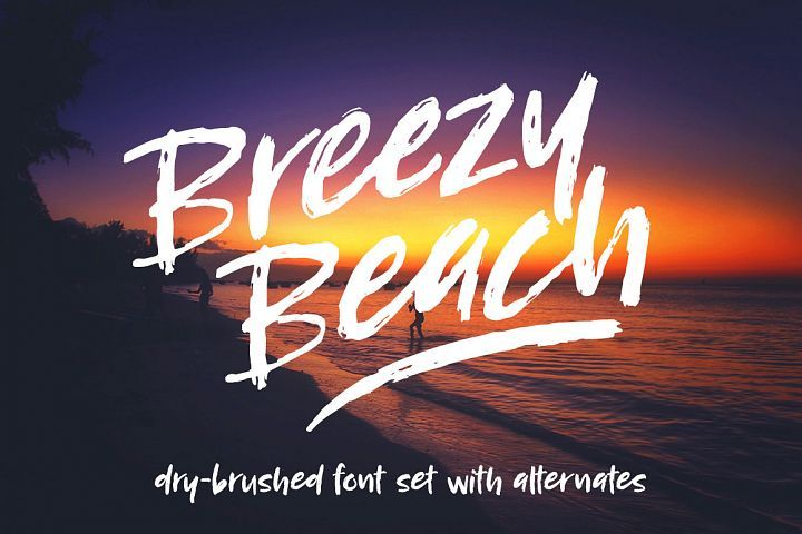 Breezy Beach: a dry brushed font from FontBundles.net