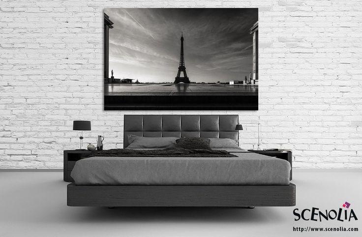 Tableau géant noir et blanc Tour Eiffel