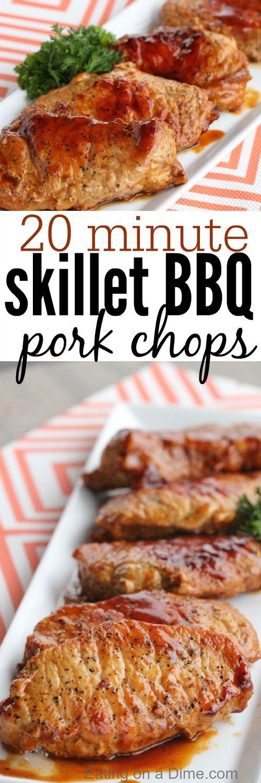 20 minute skillet bbq pork chops