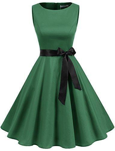 4470f164348 Women s Audrey Hepburn Rockabilly Vintage Dress 1950s Retro Cocktail Swing  Party Dress