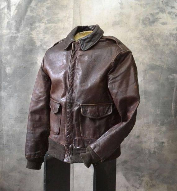 Type A2 Avirex Air Force  Fly Boy Bomber Jacket by Petrune on Etsy, $350.00