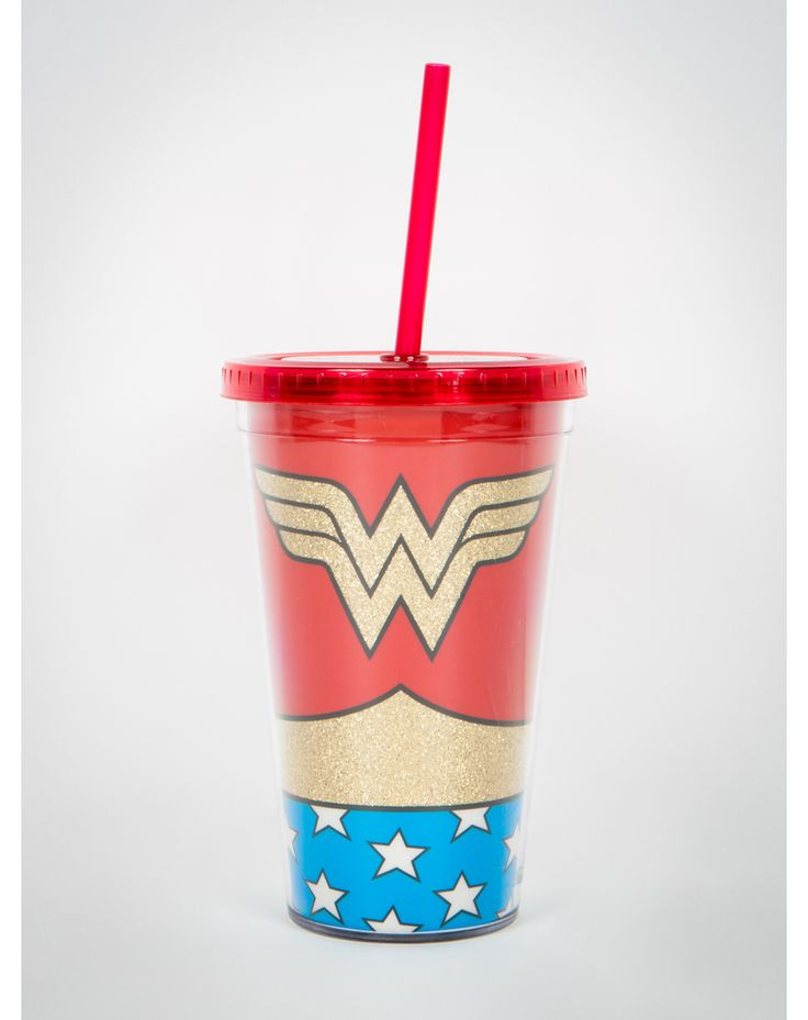 Wonder Woman Logo Glitter Cup with Straw