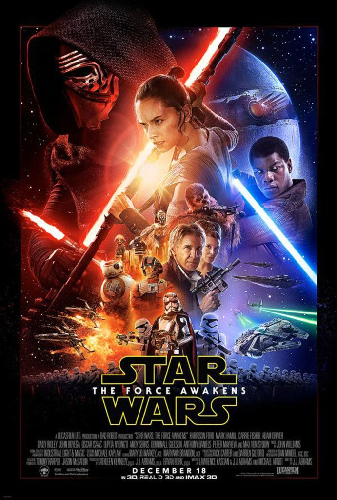 The New Poster for Star Wars: The Force Awakens Is Here! THE NEW POSTER for Star Wars: The Force Awakens has landed, and it is gorgeous.If you're even a casual fan of the best sci-fi franchise ever, you'll recognize many of the characters, including Princess Leia, Han and Chewbacca. We're also stoked by the prominent placement given to Rey, played by Daisy Ridley, and to Finn, played by John Boyega. Oddly, there's no sign of Luke Skywalker. Hmmm…