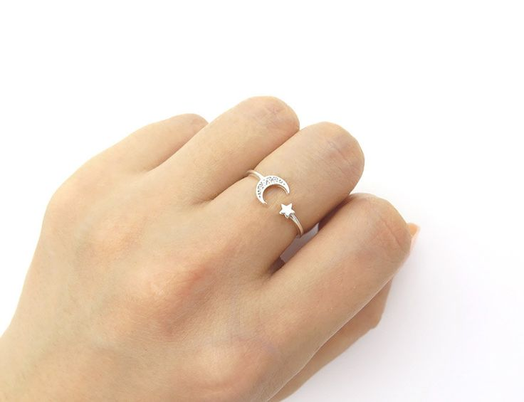 Star and moon ring / Adjustable ring / Sterling silver open ring / Moon silver ring / Star silver ring / Delicate ring / Ring with gift box by MinimalBijoux on Etsy