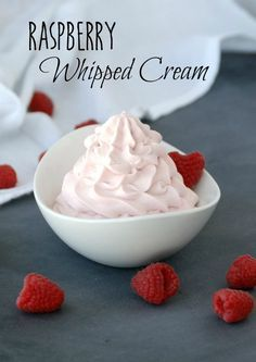 This Raspberry Whipped Cream is amazing -- and it's made with only 3 ingredients! This would be so delicious on pretty much anything -- but especially chocolate!!