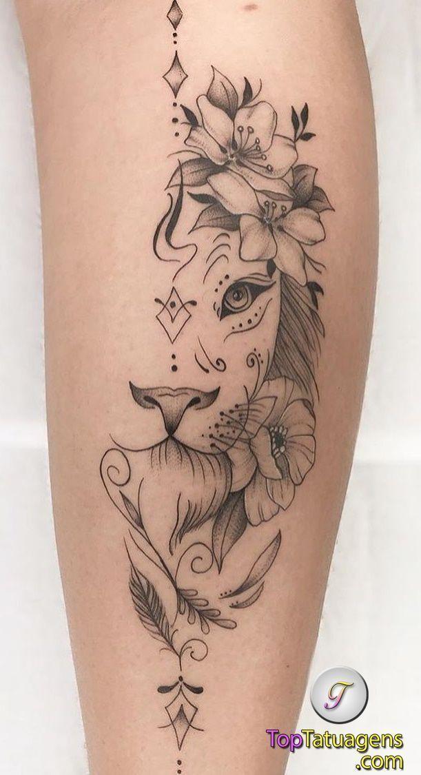 70 Lion Tattoos For Women And Men Toptatuagens In 2020 Feminine Tattoos Leg Tattoos Women Girly Tattoos