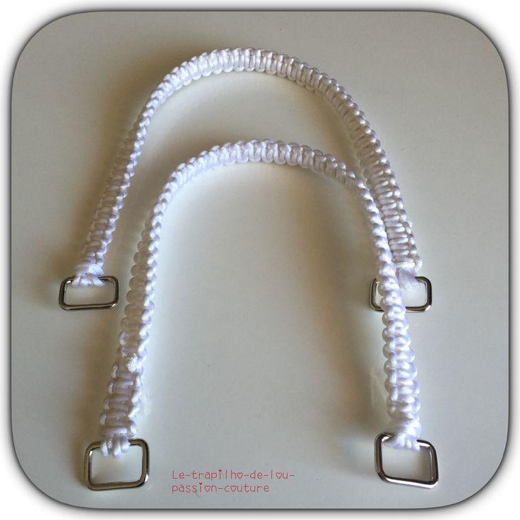 Lot de 2 anses / poignées de sac 49 cm blanc : Fermoirs sac, porte-monnaie par le-trapilho-de-lou-passion-couture