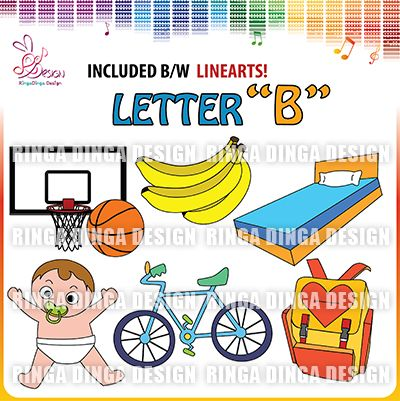 phonics beginning sound letter B clip art