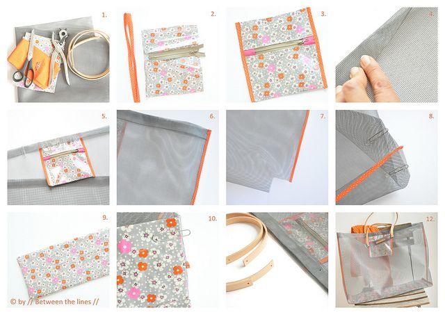 Mesh beach bag out of window screen fabric free sewing - Bolsas para decorar ...