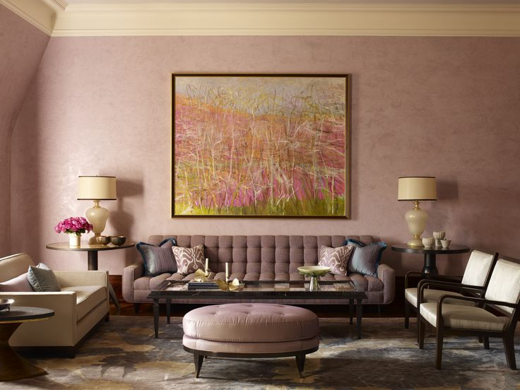 Pink living room by Jamie Drake
