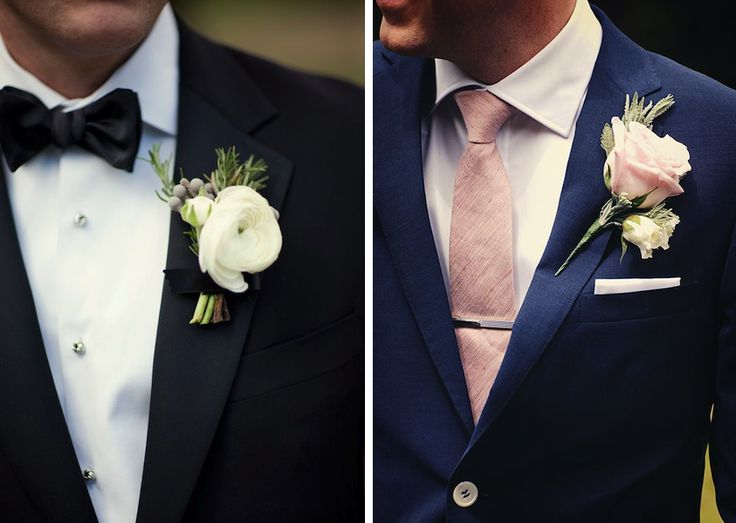 A boutonniere should be worn only on a jacket with a special boutonniere buttonhole on the lapel. Pinning a boutonniere directly onto a satin lapel will leave lasting holes in the fabric.