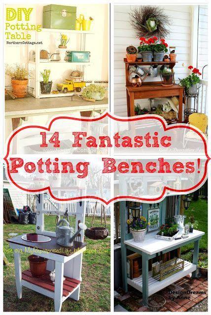 14 Fantastic Upcycled Potting Bench Ideas! #RaisedGarden Raised