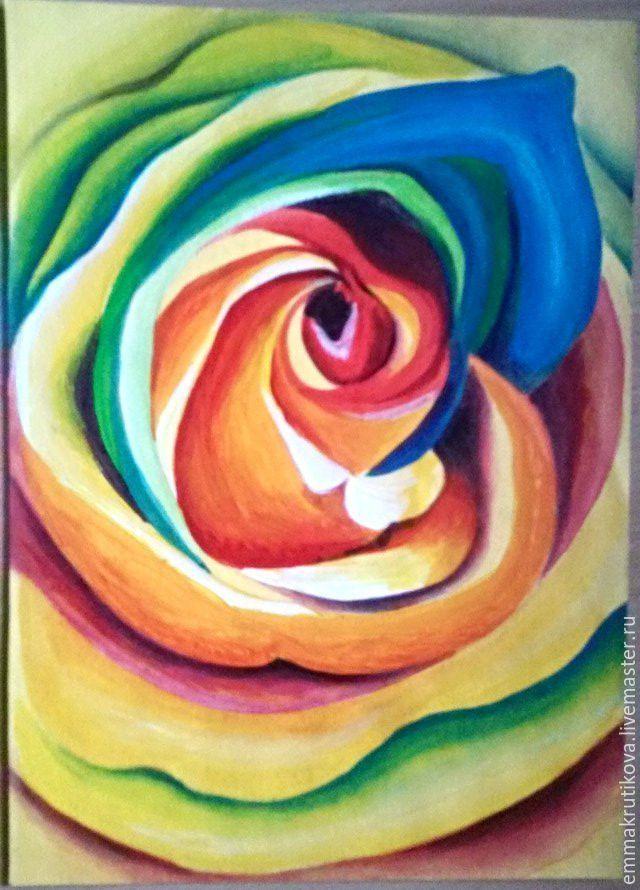 Купить Картина Радужная роза - комбинированный, роза, акрил, акриловые краски, для дома и интерьера, для интерьера