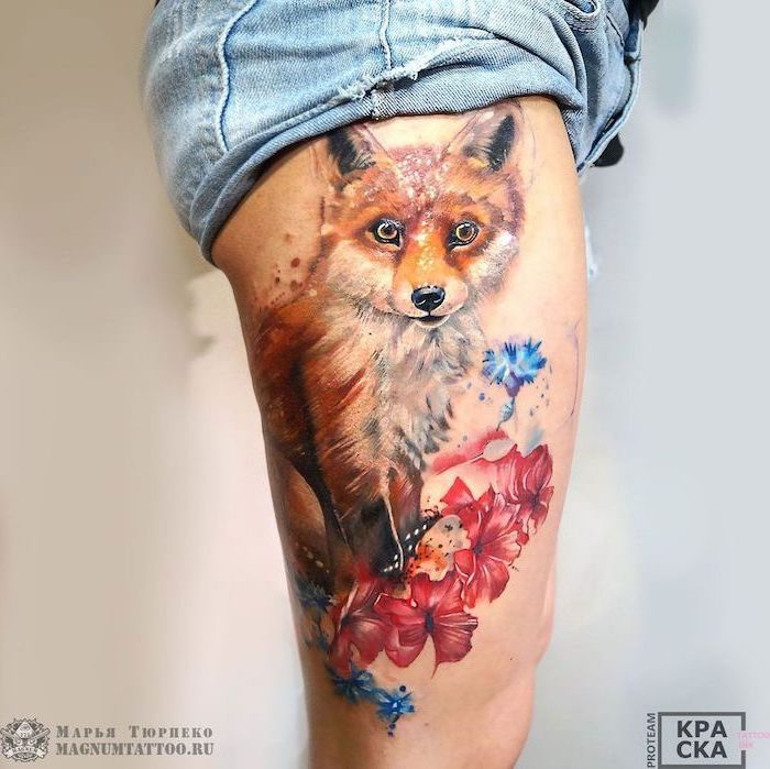 Thigh Tattoos Watercolor Tattoo Fox Red Blue Flowers Denim Shorts White Background In 2020 Thigh Tattoo Thigh Tattoos Women Leg Tattoos