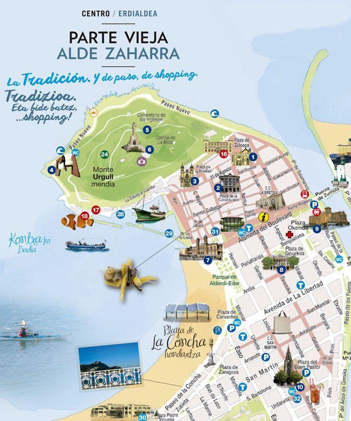Map Of Spain San Sebastian.Old Town And Romantic Area San Sebastian Tourism Area