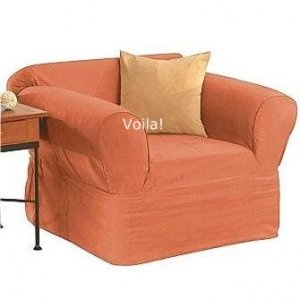 Sure Fit CHAIR Slipcover Suede Persimmon Orange Armchair Cover