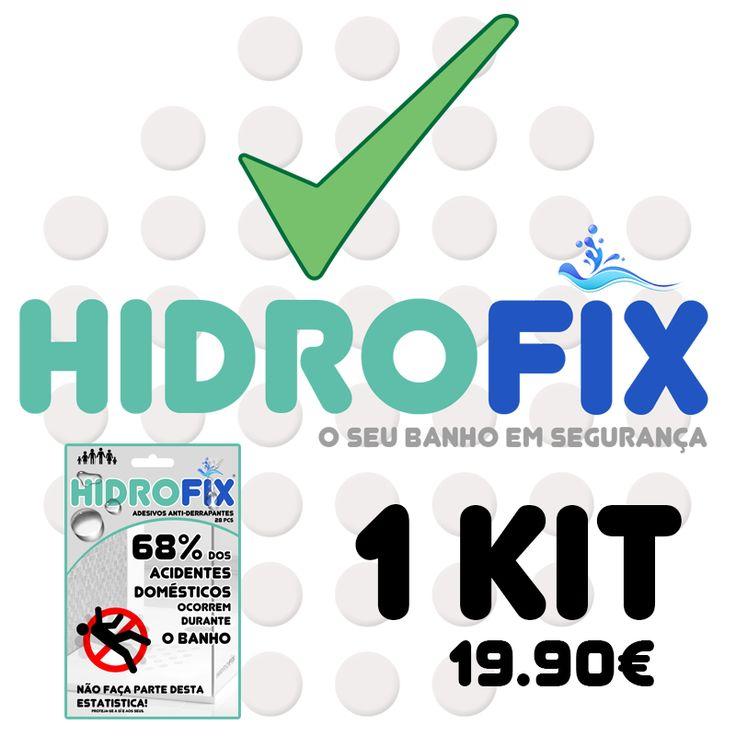 Hidrofix - Um pack com 28 adesivos + 1 kit de montagemHIDROFIX é a solução para evitar as QUEDAS em superfícies ESCORREGADIAS.Os acidentes acontecem quando menos se espera.Por isso a prevenção assume-se como uma ferramenta fundamental para evitar acidente