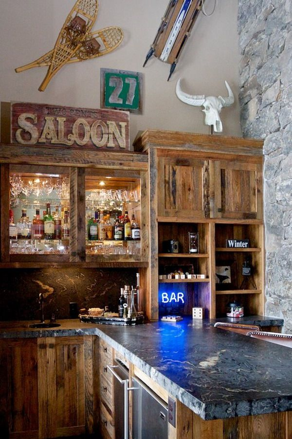 Custom Western Kitchen Bar Cabinets Ideas