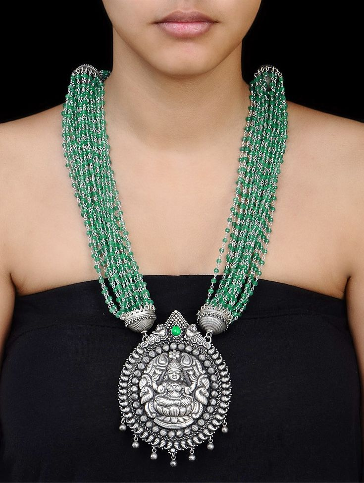 Buy Silver Green Onyx Goddess Lakshami Necklace Semi Precious Stone Jewelry Colaba Tales Beaded Engraved Necklaces with Colorful Stones Online at Jaypore.com