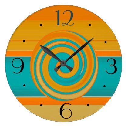 Teal Gold and Orange >Simplistic Kitchen Clocks - patterns pattern special unique design gift idea diy