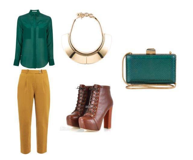 Pantalon mostaza y verde esmeralda