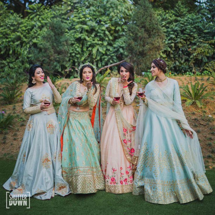 Sister of the Bride - Bride in a Sea Green Embroidered Lehenga   WedMeGood   Blue and Pink Pastel Shade Lehengas #wedmegood #indianbride #indianwedding #bridal #lehenga #sisterofthebrideoutfits #weddinglehenga #matsya