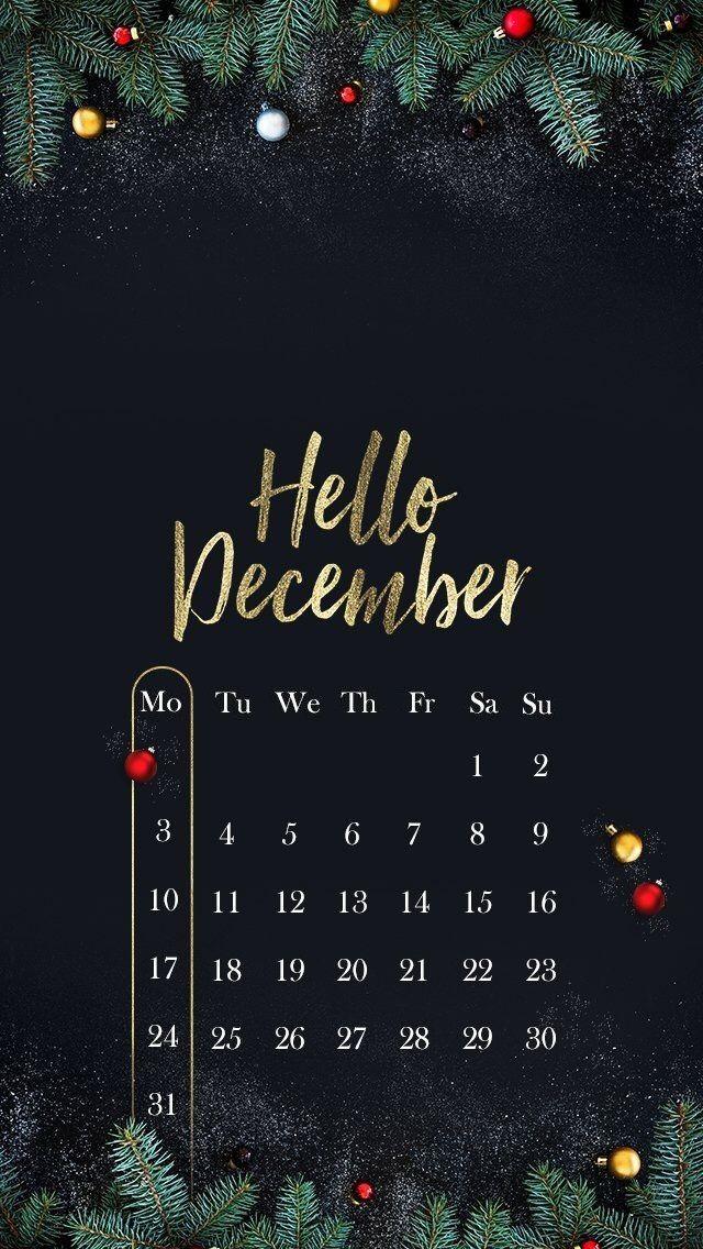 Hello December 2018 iPhone Wallpaper Рождественские обои
