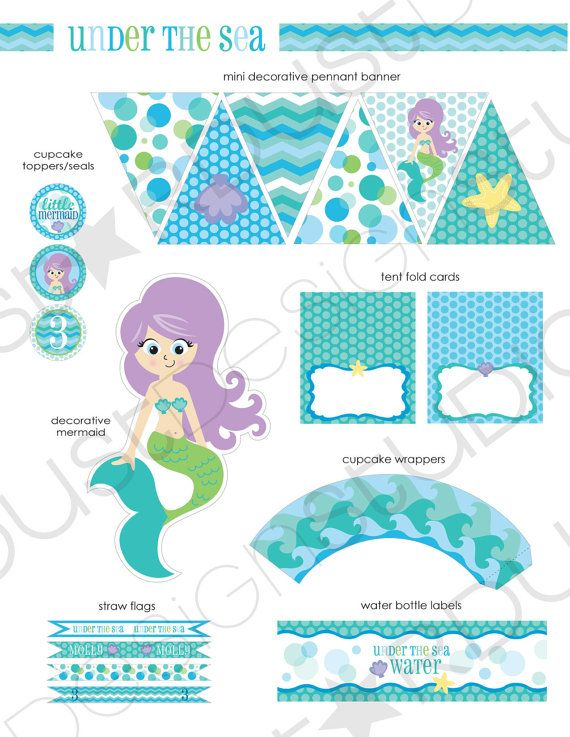 UNDER THE SEA  mermaid printable party kit by StardustDesignStudio, $28.00