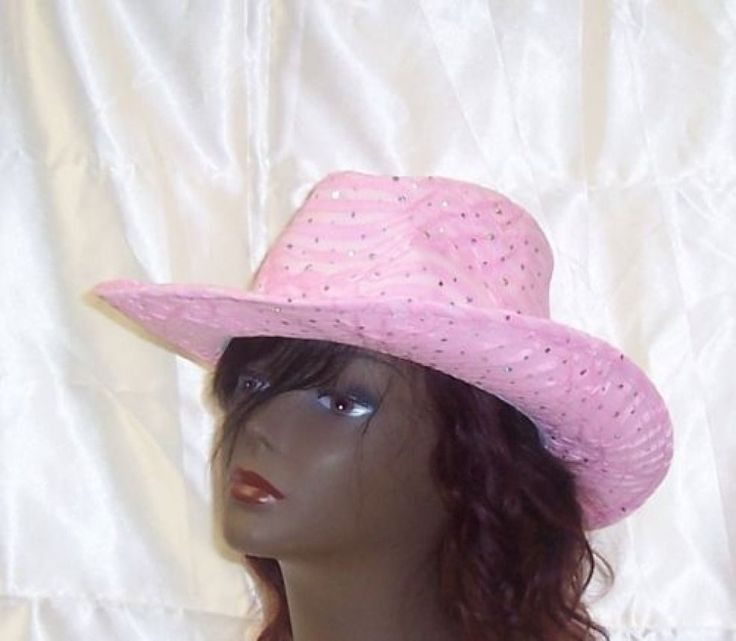 Pink Cowboy Hat Western Country Style Ladies Glitter Sequin Cap #Unbranded #Cowboy