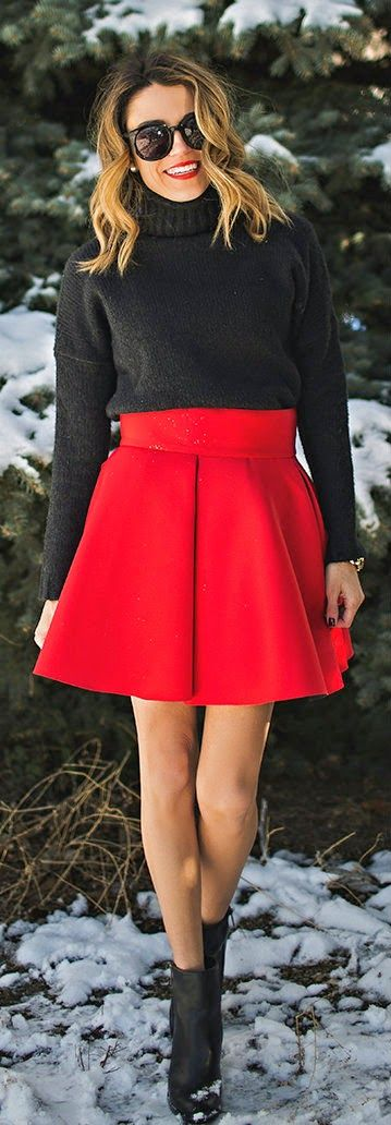 Merry Christmas Darling ~ Grey Knit Sweater + Red Flare Skirt - Hello Holday Fashion- #LadyLuxuryDesigns
