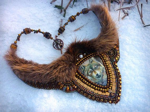 Winter Wolf Necklace Bead Embroidery Art by JewelryElenNoel
