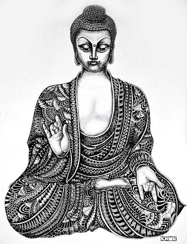 Buddha by Ink Wink via Behance ZENTANGLE ZENDOODLE