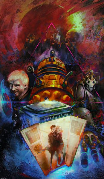 Doctor Who art. Featuring the Master, a dalek, cybermen, Time Lords, and The Doctor with Rose in the TARDIS.