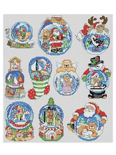 Snow Dome Ornaments Cross-Stitch Pattern (to purchase) @Shay Keen