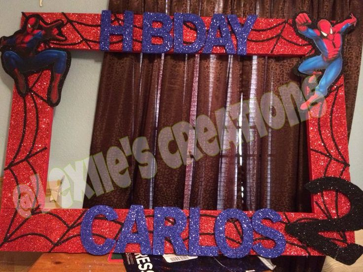 Spiderman Frame to take pictures during party made by Alexandra Rosas https://www.facebook.com/LexiiesCreations?ref=hl