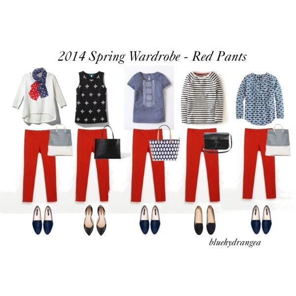 """""""Spring Wardrobe - Red Pants"""" by bluehydrangea on Polyvore"""