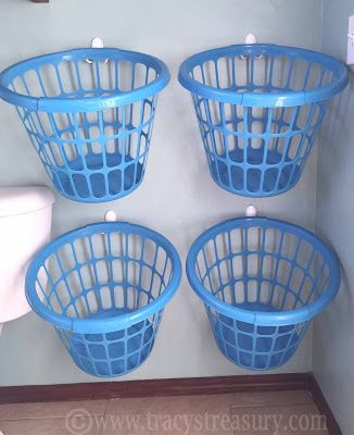 We recently changed up our laundry sorting system, and this is what we ended up with...        The baskets were each $1 from Dollar General,...