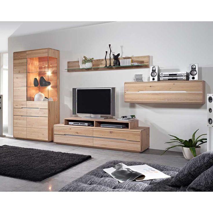 Wohnzimmer Wohnwand Aus Wildeiche Massivholz Weiß Geölt (5 Teilig) Jetzt  Bestellen Unter: