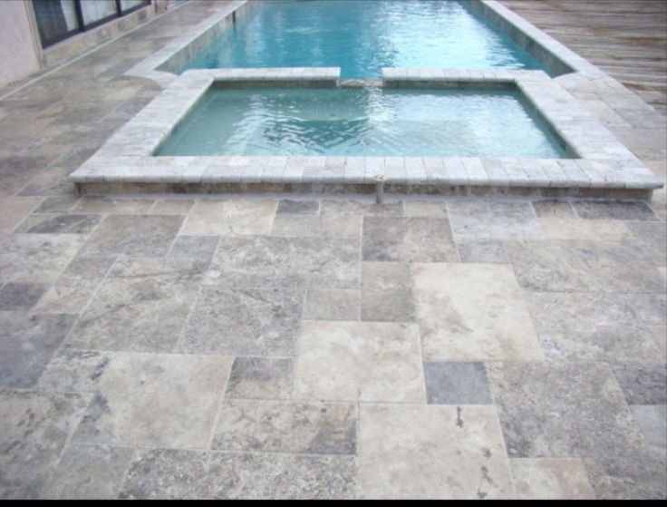 Silver Grey Travertine pool pavers
