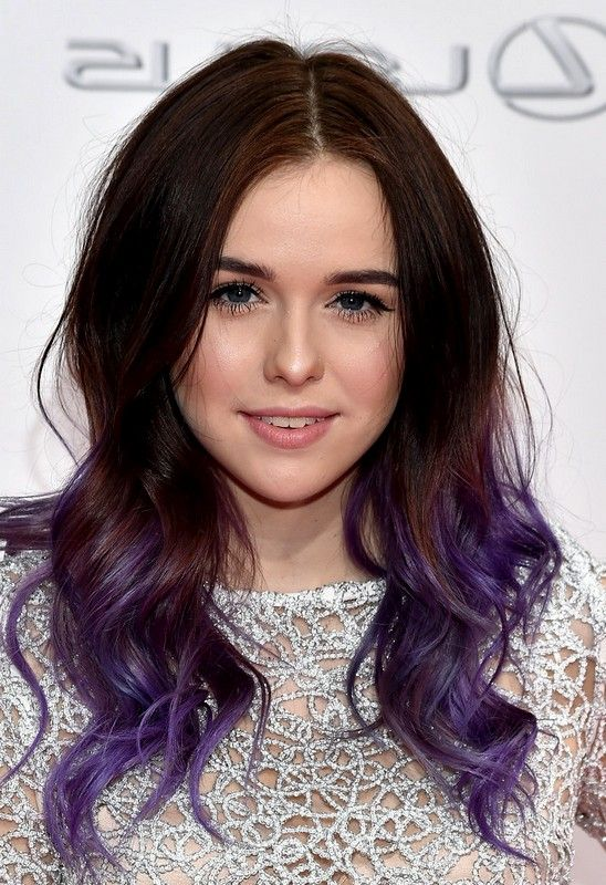 Acacia Brinley and her purple ombre. Cute, isn't it? #ombre #style #hairstyle #haircolor #cute #braunhair
