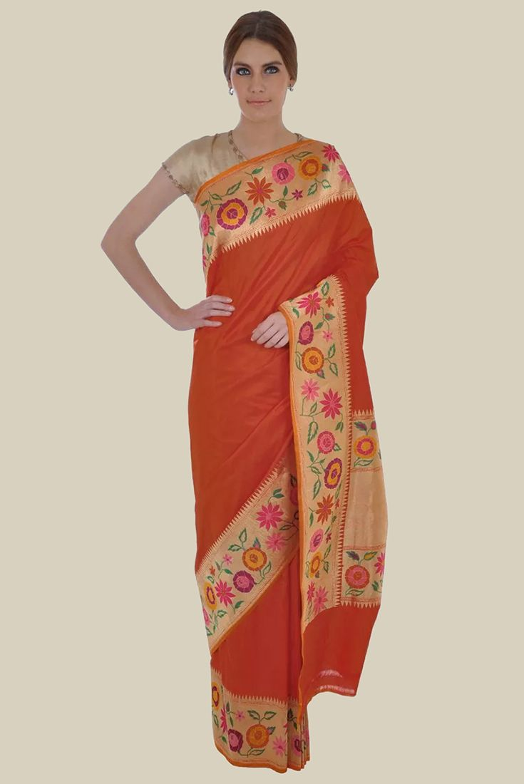 Burnt Orange Zari And Meenakari Handwoven Pure Silk Saree